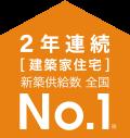 2年連続[建築家住宅]新築供給数全国No.1